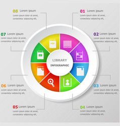 Infographic design template with library icons vector