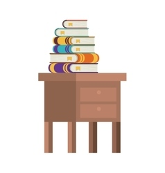 Isolated books over table design vector image