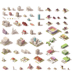Isometric low poly buildings and houses vector
