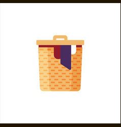 laundry basket with dirty clothes isolated on vector image