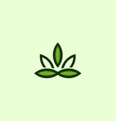 leaf marijuana outline creative logo design vector image