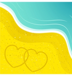 Love hearts in the sand vector