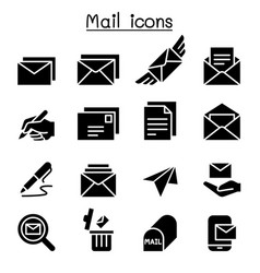 Mail icon set graphic design vector