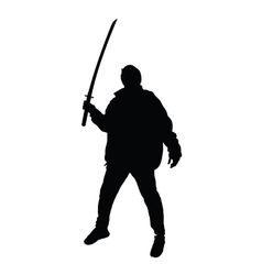 man with sword posing silhouette vector image