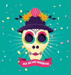Mask of the santa death with hat and flowers vector