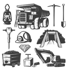 Mining Industry Elements Set vector