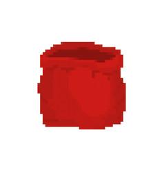 Open sack santa pixel art red big bag 8 bit video vector