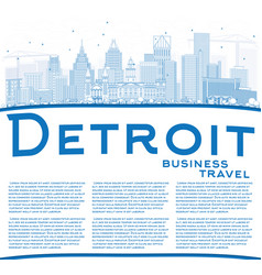 outline detroit skyline with blue buildings and vector image