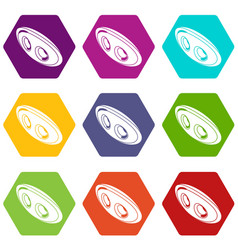 oval clothes button icons set 9 vector image