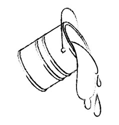Paint bucket spilling in black blurred contour vector