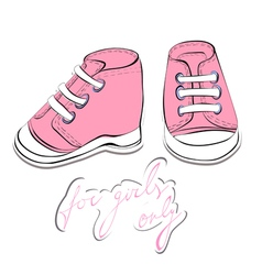 Pair pink shoes vector