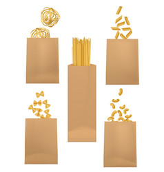 Pasta packages italian spaghetti macaroni bags vector