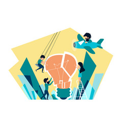 people collect a light bulb vector image