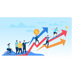 People running up growing red graph arrow vector
