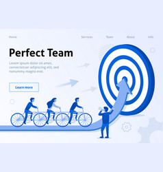 perfect team cooperation flat banner for business vector image