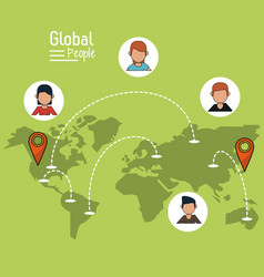 Poster of global people with light green vector