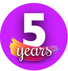 purple five years greeting card with colorful vector image