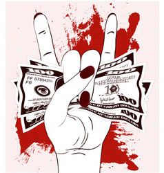 Rock-n-roll hand gesture with crumpled one hundred vector