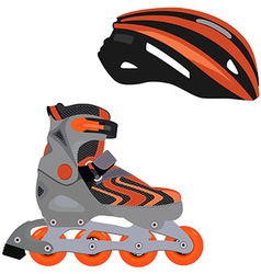 Rollerblade and helmet vector