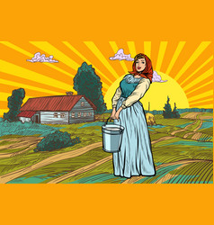 rural woman with a bucket water or milk farm vector image