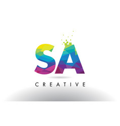 Sa s a colorful letter origami triangles design vector