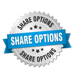 Share options round isolated silver badge vector