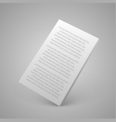 Sheet paper with text 3d vector