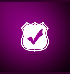 shield with check mark icon on purple background vector image
