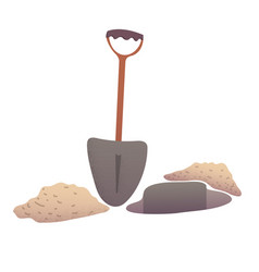 Shovel digging a pit vector