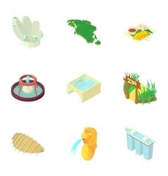 Singapore icons set cartoon style vector