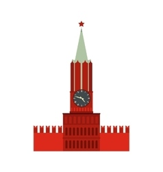 Spasskaya tower moscow kremlin icon flat style vector