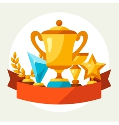 Sport or business background with award and trophy vector