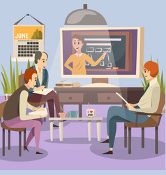 Students engaged online education vector
