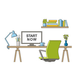 thin line of a modern home office vector image