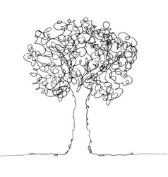 tree black on white vector image vector image