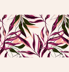 tropical pattern with palm tree in red pink vector image