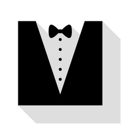 tuxedo with bow silhouette black icon with flat vector image
