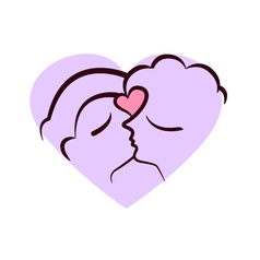 Two faces kissing vector