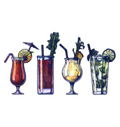 Watercolor alcohol cocktails set vector