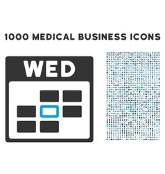 Wednesday Calendar Grid Icon With 1000 Medical vector