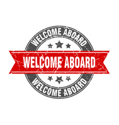 Welcome aboard round stamp with red ribbon vector