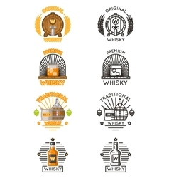 Whisky logo set alcohol drinks logotypes vector