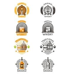 Whisky logo set alcohol drinks logotypes vector image