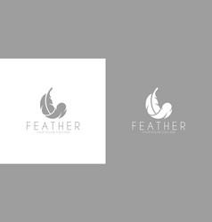 white feather logo vector image