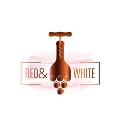wine bottle watercolor logo corkscrew with vector image