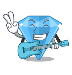 With guitar sapphire gem in a mascot box vector