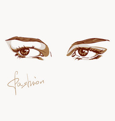 Woman eyes fashion in sketch style vector