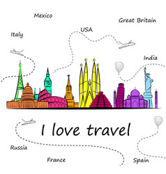 World s most popular tourist sights tourism vector