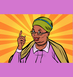 african elderly woman pointing finger up vector image vector image
