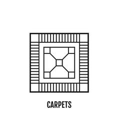 Carpet flooring flat linear icon vector